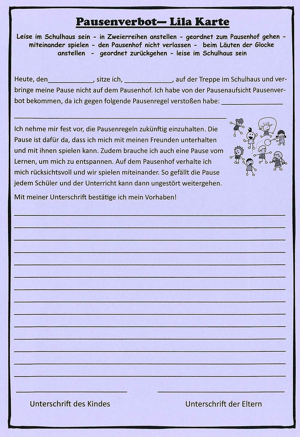 Lila Karte Jahrgangsstufe 4